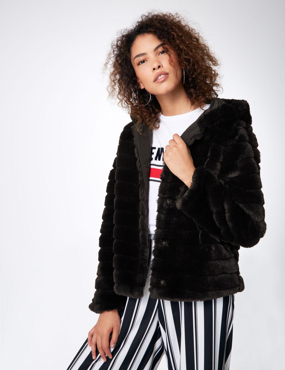Manteau imitation fourrure noir femme • Jennyfer 98b91b8ce565