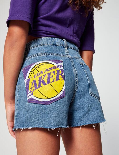 Lakers denim shorts