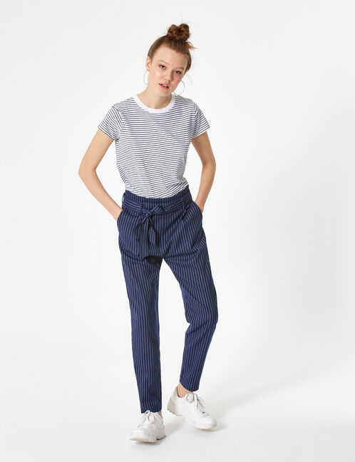 pantalon ville avec ceinture bleu marine