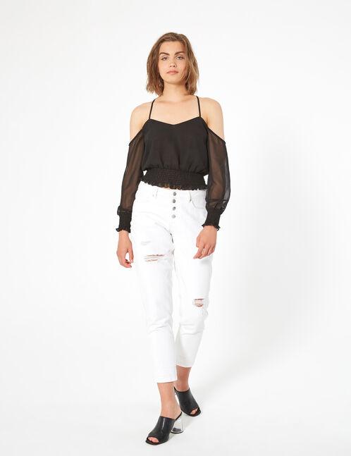 chiffon shirred blouse
