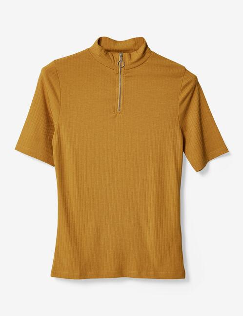 tee-shirt zippé ocre