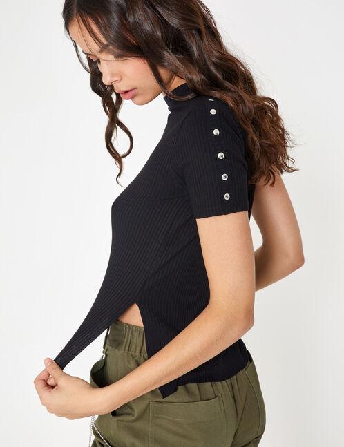 Black T-shirt with press-stud detail
