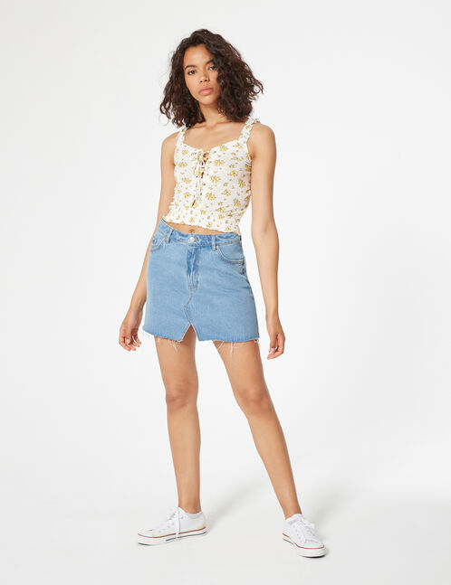 flowered crop top with lace