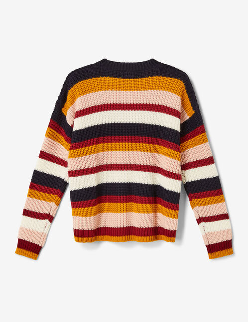 Ochre, burgundy, light pink, navy blue and cream striped jumper