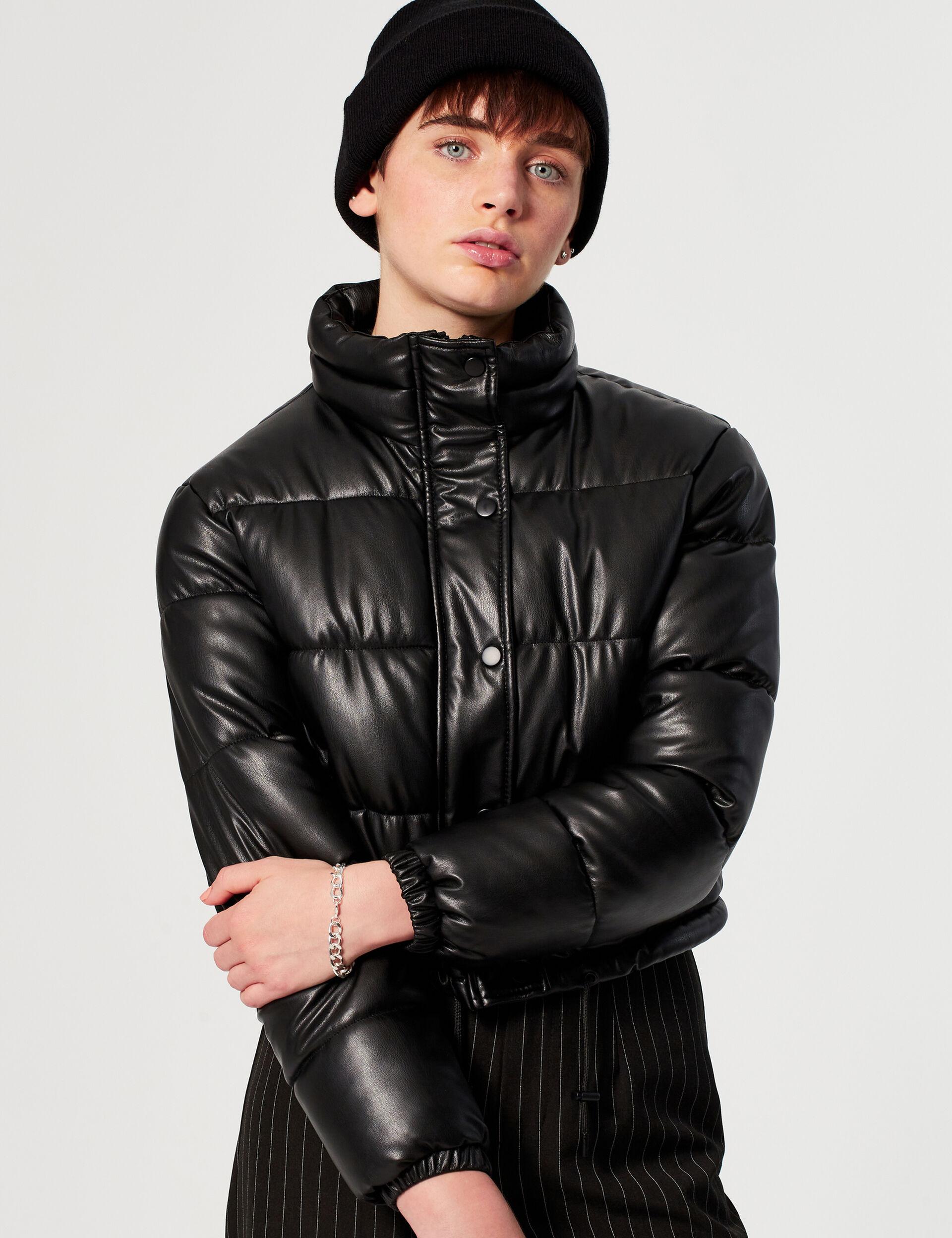 High-necked imitation-leather padded jacket