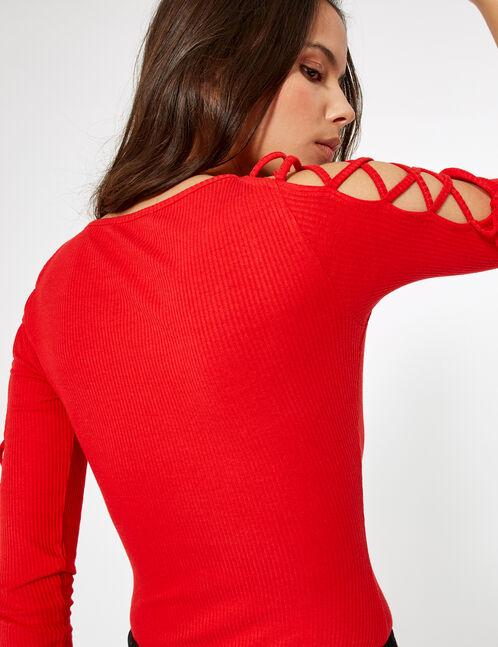 body avec laçages rouge