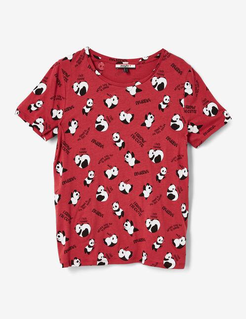 Burgundy panda T-shirt