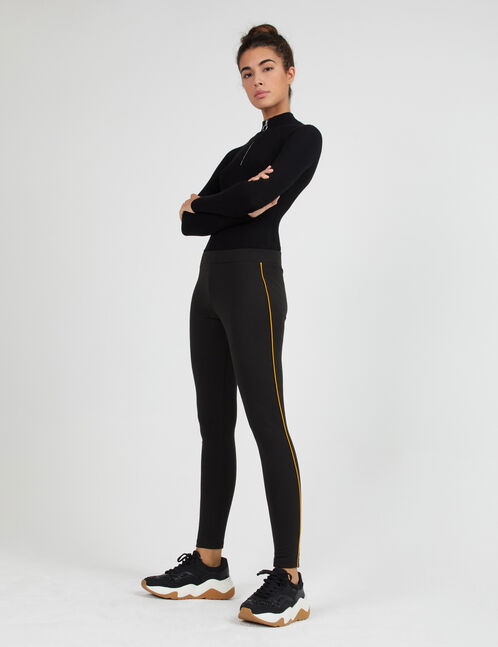 Black and ochre leggings with skinny side stripe detail