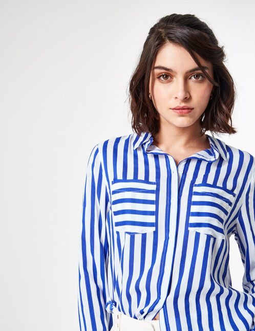Cream and electric blue striped shirt