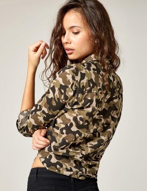chemise à nouer camouflage kaki