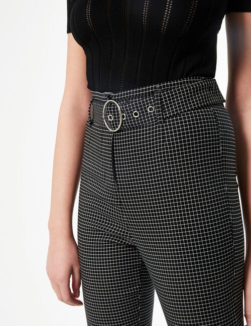 High-waisted checked tailored trousers