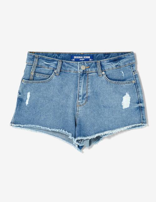 short en jean taille haute bleu clair