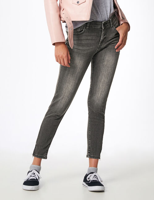 Grey skinny jeans with zip detail