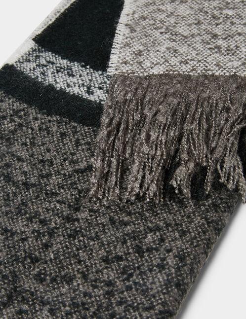 écharpe à carreaux noire et grise