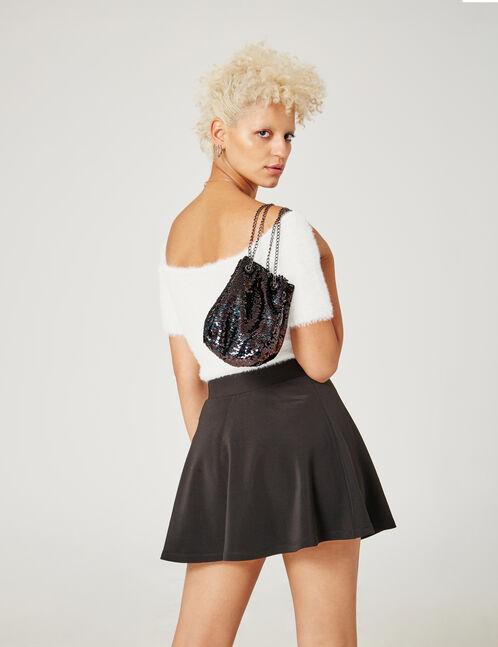Black ribbed skater skirt