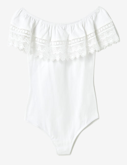White bodysuit with lace detail