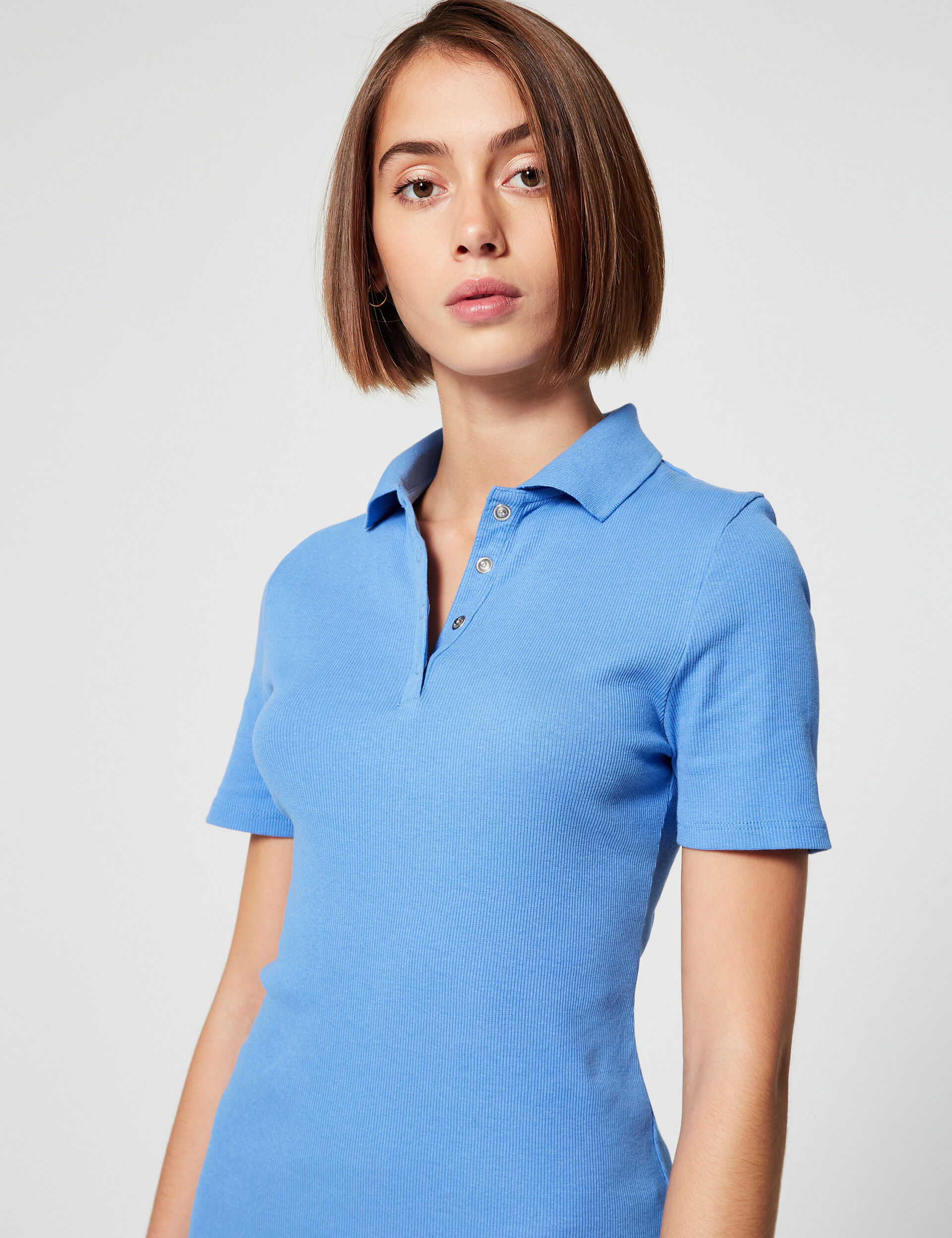 Ribbed dress with polo-shirt collar