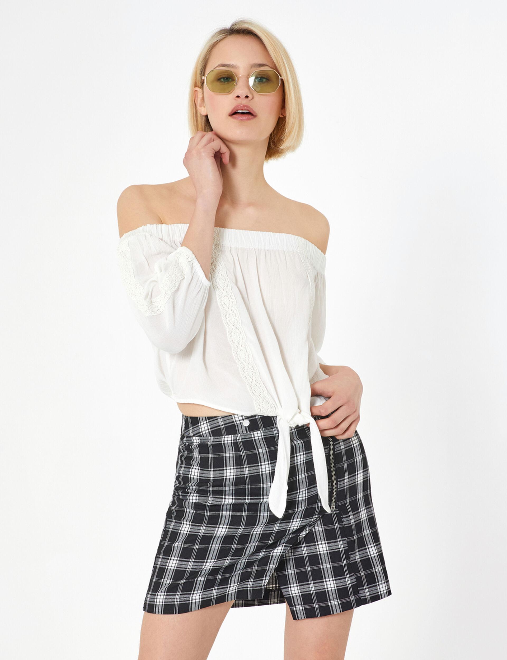 Ecru cold-shoulder blouse