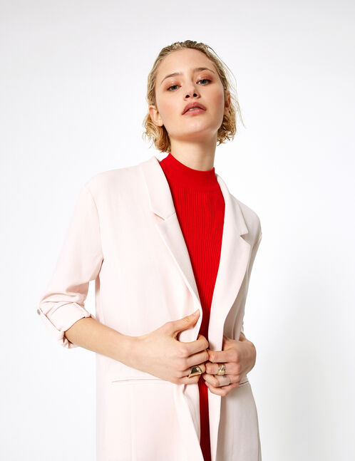 blazer manches roll up rose clair