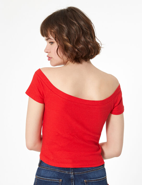 Bardot top with buttons