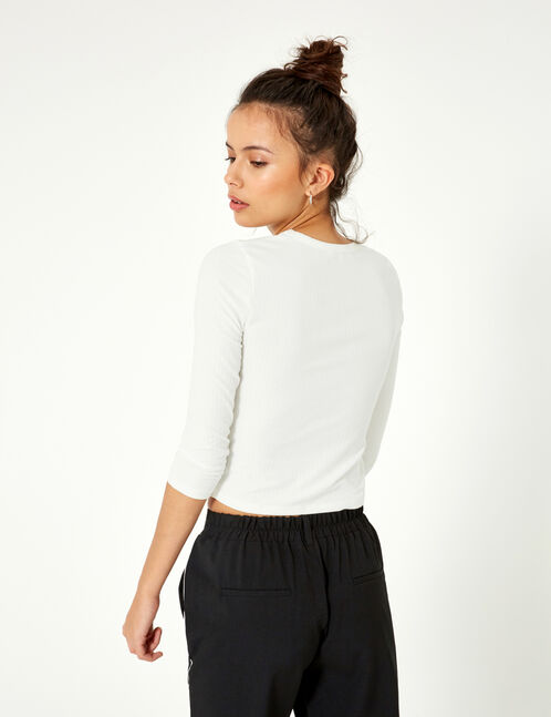 Cream knot-effect top