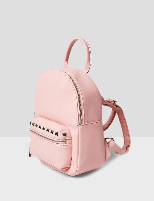 petit sac à dos clouté rose clair
