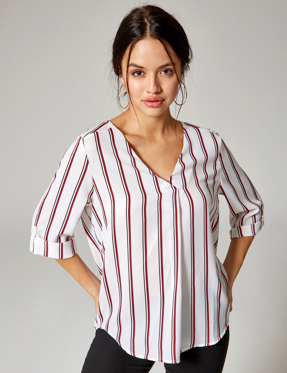 c76d56a2d6d Sherosa Women Red and White Striped Shirts V Neck Blouses Ladies Tops(S  Wine Red