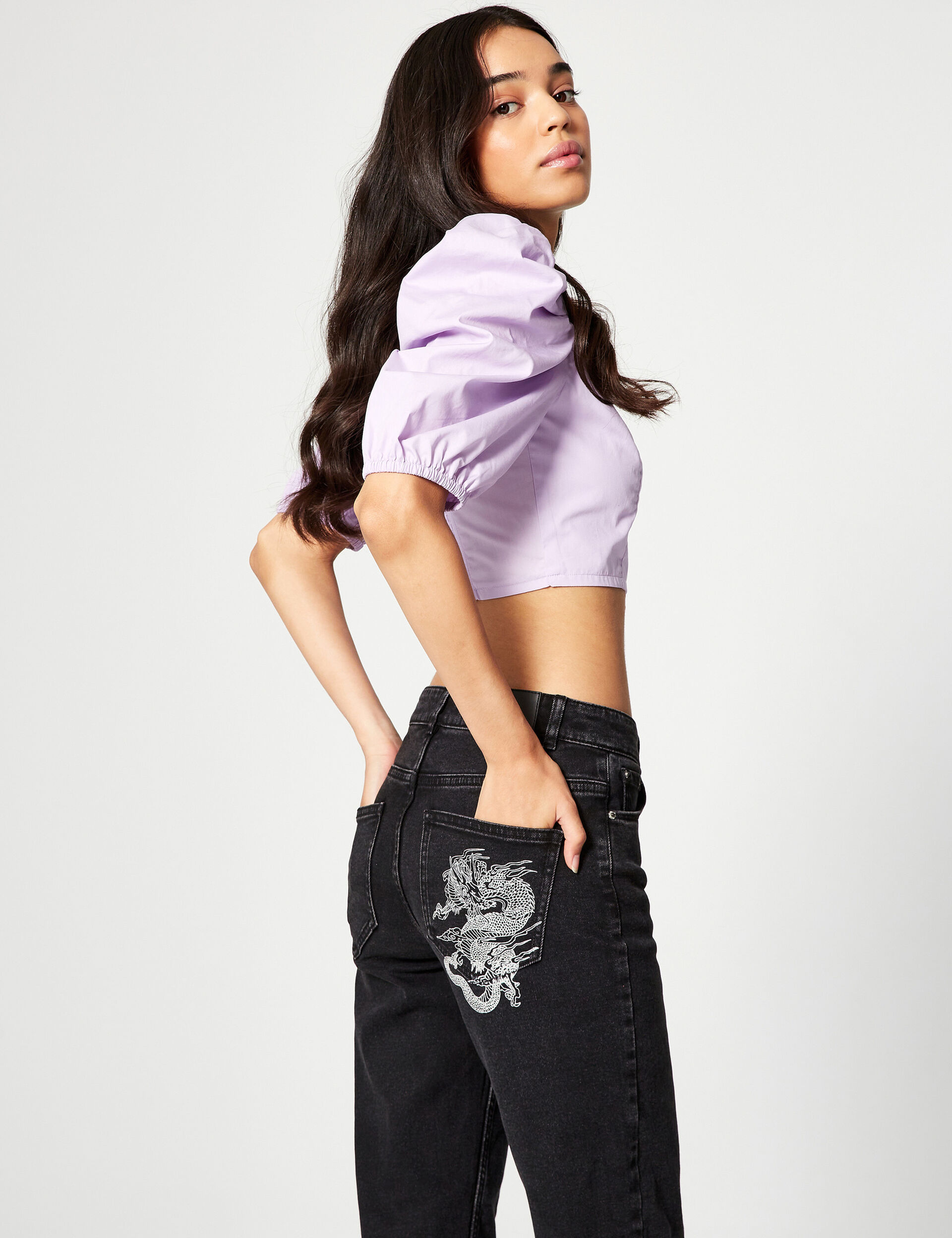 Mid-rise mom jeans