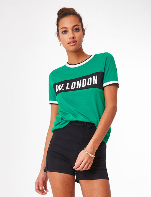 Green t-shirt with text design detail