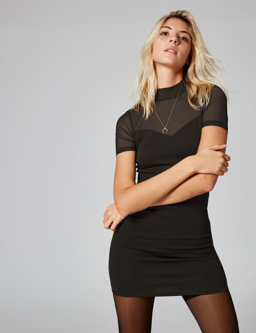 Black fitted dress with mesh detail