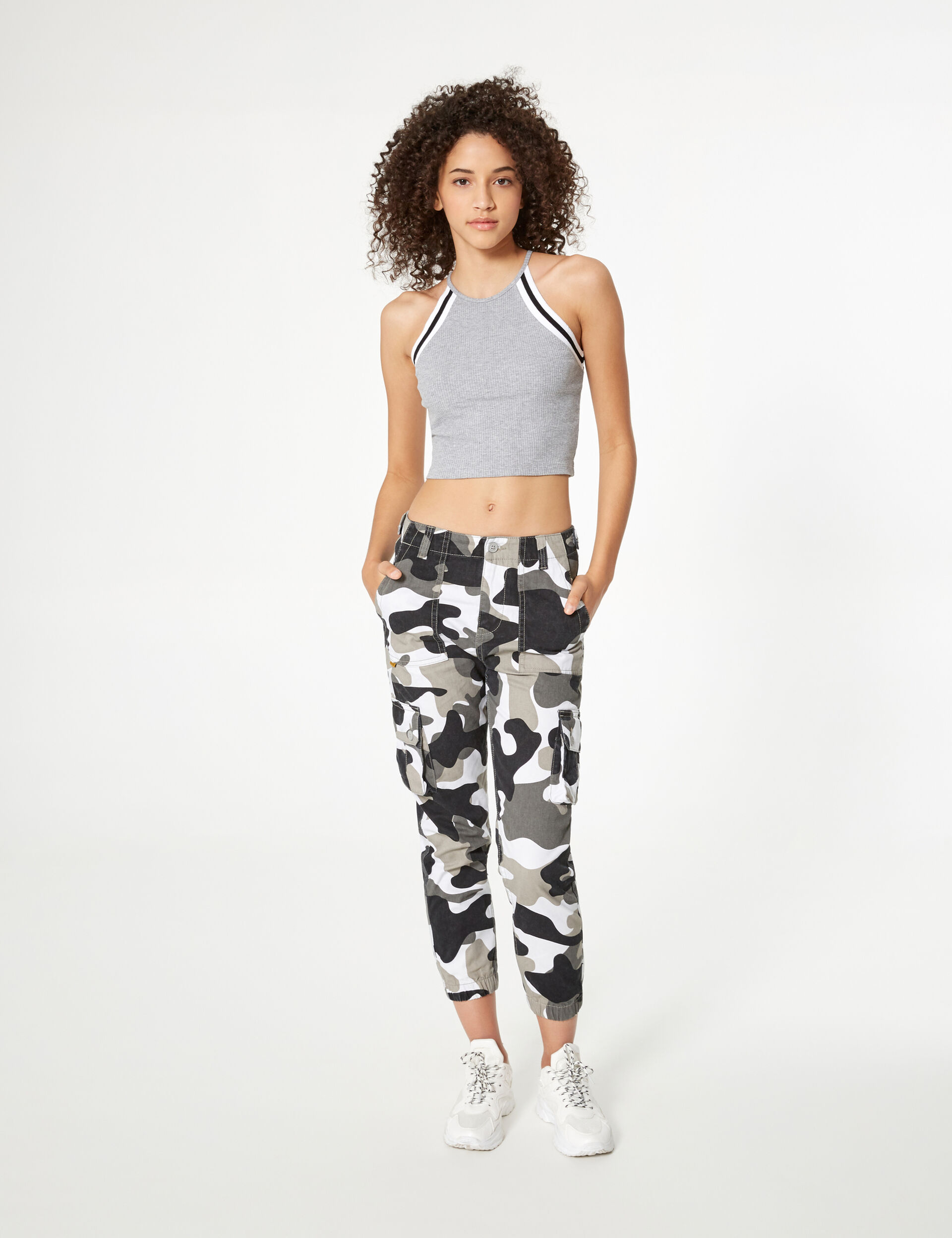 Grey, white and black ribbed crop top