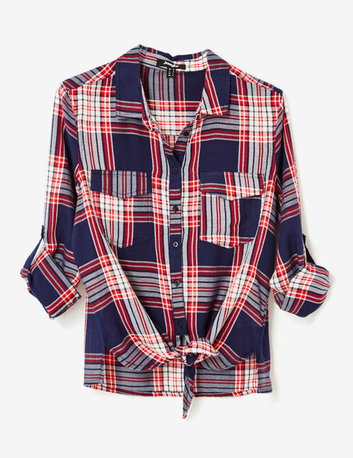 Navy blue, cream and red tie-fastening shirt