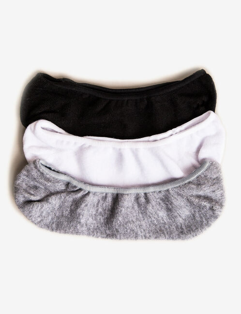 Black, grey and white invisible socks