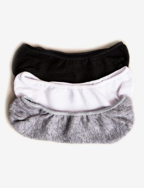 chaussettes invisibles noires grises et blanches