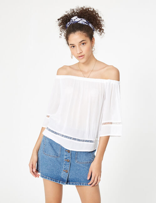 White off-the-shoulder blouse