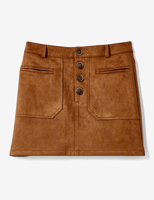 jupe suédine à poches camel