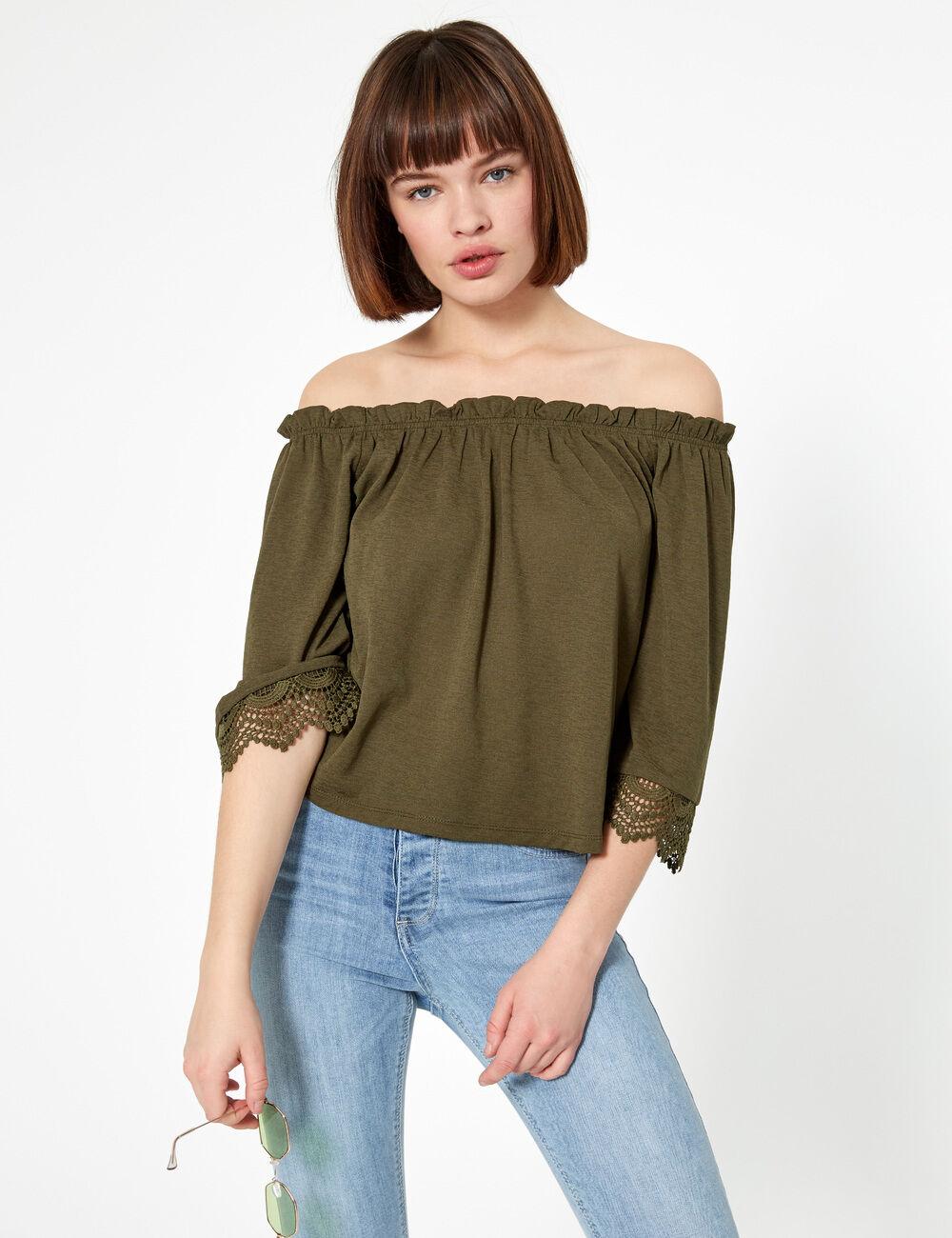 d54bd0d484 Tee-shirt épaules dénudées kaki femme • Jennyfer