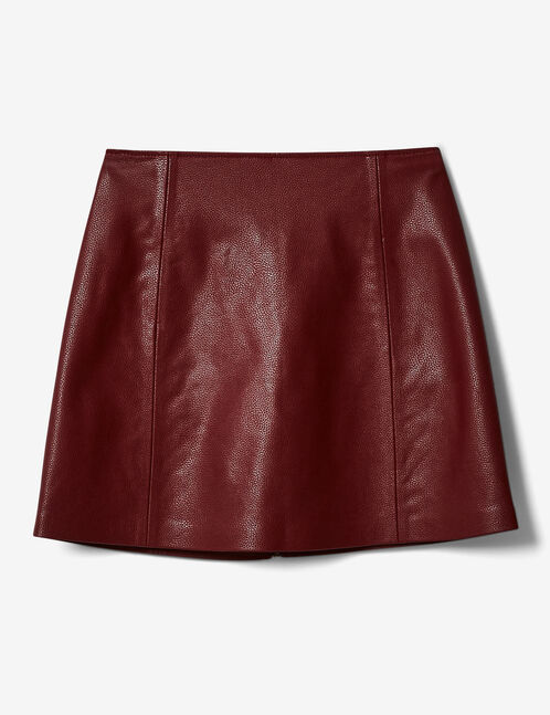 Burgundy skirt with zip and seam detail