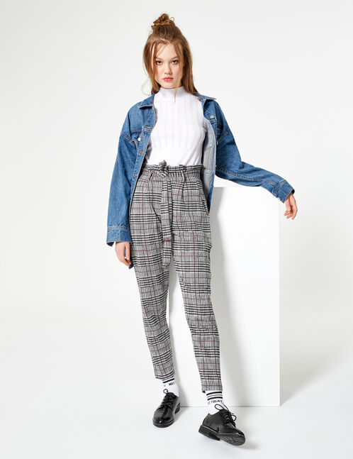 Black, cream and burgundy trousers with belt