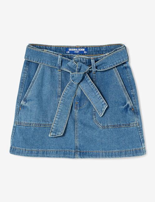 jupe en jean avec ceinture medium blue