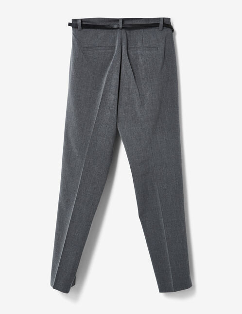 Grey tailored trousers with belt