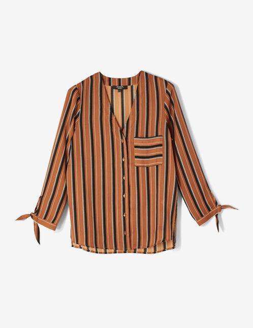 chemise rayée col v camel, noire et écrue
