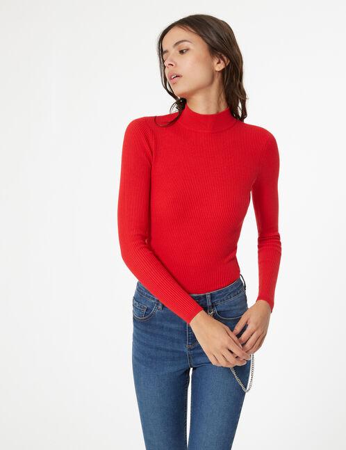 high-neck ribbed jumper