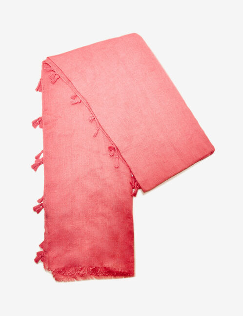 Coral scarf with tassel detail