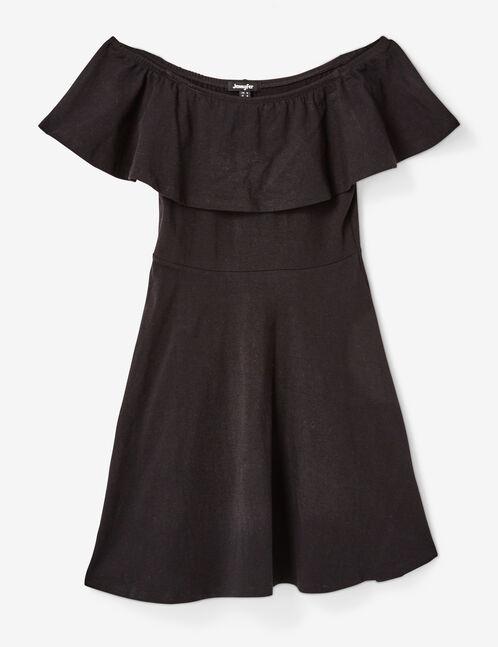 Black dress with off-the-shoulder dress