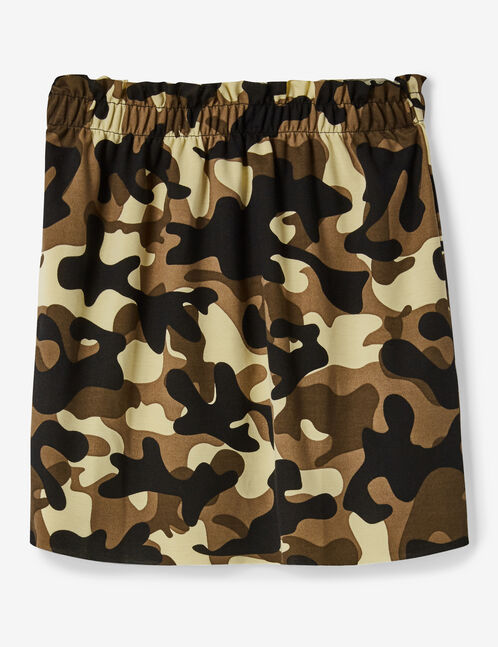 Khaki camouflage striped skirt with ruched detail