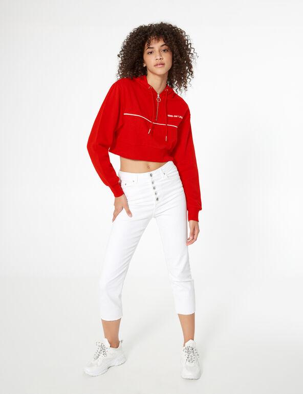 Sweat court zippé rouge et blanc