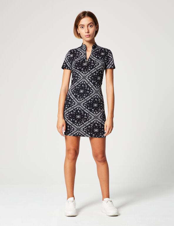 Bandana-print polo shirt dress