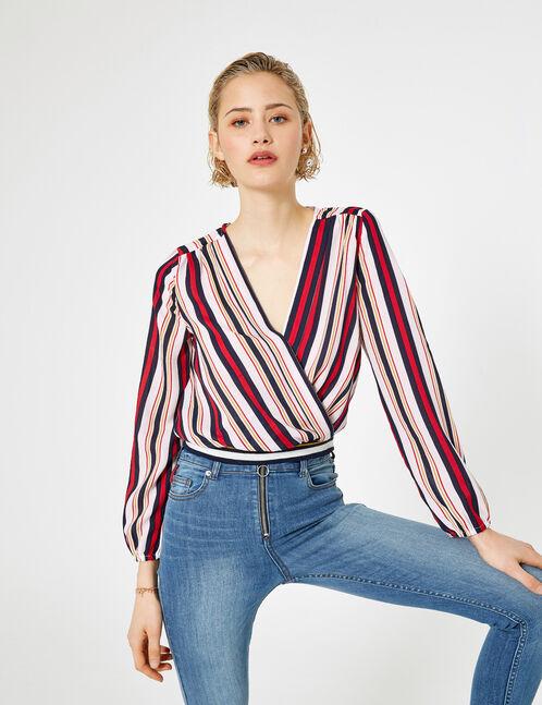 Navy blue striped wrap blouse
