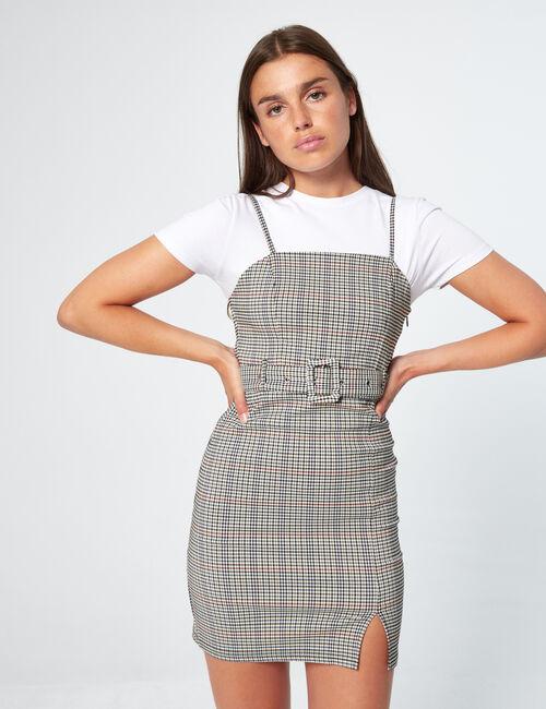 Robe courte imprimée avec ceinture
